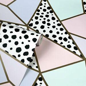 Dalmatian Fragments Wallpaper Arthouse Metallic Geometric Gold Pink Teal 908508