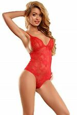 O'Mango Women Double Cut-Out Red Lace One-Piece Lingerie Nightwear Outfits