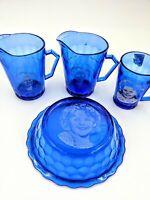 Vintage 4 Pc Shirley Temple Hazel Atlas Cobalt Blue Pitcher Glass & Bowl Plus