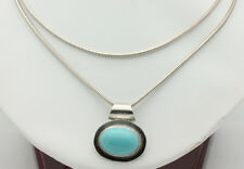 "Sterling Silver .925 Long 34"" Snake Necklace Simple Oval Turquoise Charm J535"