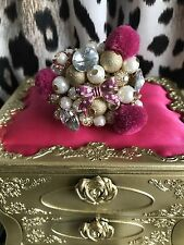 Betsey Johnson Vintage HUGE Varsity Crush Pom Pink Cluster Pearl Stretch Ring