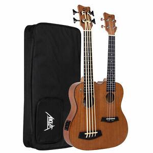 Custom Electric ukulele Bass and Ukulele AKLOT Double Neck Uku Bass Uku Mahogany
