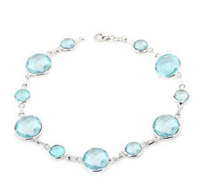 14K White Gold Blue Topaz Gemstone Bracelet 7.25 inches