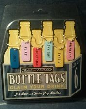Bottle Id Tags Cook-out Companion Claim Your Drink, Set of 6, Brand New!
