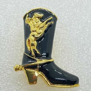 Vintage COWBOY BOOT BROOCH Pin Black Enamel Horse Gold Tone Costume Jewelry