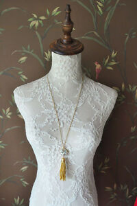 NEW Auth J.crew Beaded moon Large Crystal tassel pendant Gold Chain necklace