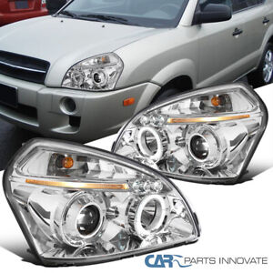 For 05-09 Tucson Replacement Clear Lens LED Halo Projector Headlights Head Lamps