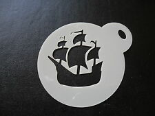 Laser cut small pirate ship design cake, cookie, craft & face painting stencil