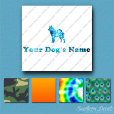 Custom Norwegian Elkhound Dog Name Decal Sticker - 25 Printed Fills - 6 Fonts