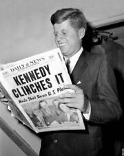 1960 Elected President JOHN F KENNEDY JFK w/ Newspaper Glossy 8x10 Photo Print
