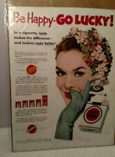 1952 Lucky Strike Cigarette Be Happy Go Lucky Colorful Vintage Print Ad 11535