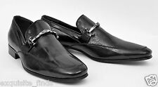 NEW VERSACE BLACK EEL LEATHER LOAFER SHOES 44 - 11