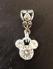 Rhinestone Mickey Mouse  Dangle Charm On A Silver Bail For European Bracelets