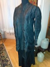 Victorian 1800s Lady long Jacket Top~Black Taffeta Silk, issues, med