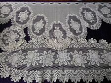 """Vintage Lace Valance - Scalloped Tab Top - 56"""" W x 24"""" L + Runner, Doily - Ivory"""