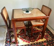 Beautiful Vintage Indoor Timber & Rattan Glass Topped 2 Seater Table & 2 Chairs