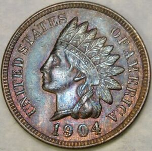 1904/1 INDIAN HEAD CENT/PENNY RE PUNCHED 1 SCARCE SNOW #16 APPEALING PURPLE TONE