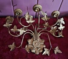 VTG. STYLE LARGE METAL SCONCE WITH 5 WHITE CANDLES