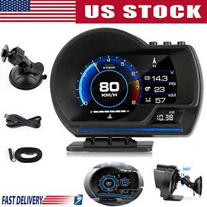 Multifunctional Digital Car HUD OBD2&GPS Speedometer Turbo Temp Gauge Fault Code