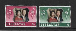 1972 Gibraltar - Silver Wedding Anniversary - Full Set - Lightly Hinged Mint.