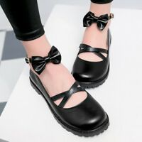 Women's Round Toe Ankle Strap Bows Ankle Strap Buckle Casual Flat Pumps Shoes