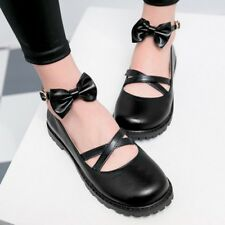 Women's Knot Round Toe Flat Casual Pumps Buckle Solid Loafers Fashion Shoes Size