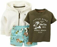Carter's 3 month baby boy's 3 piece beach board shorts t-shirt hoodie set