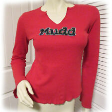 MUDD Womens Red V-Neck T-Shirt Tunic Tee Top Bell Long Sleeve Graphic Patchwork