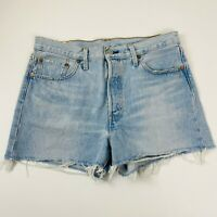 Levi's Premium BIG E 501 Ladies Denim Shorts Frayed Cutoff Size 29