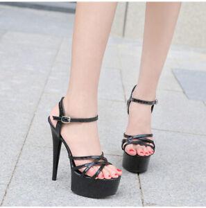 Womens Stilettos Sandals Platform Buckle High Heels Summer Party Shoes Nightclub