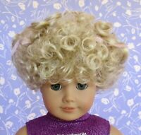 Tallinas #93  Blond Full Cap Doll Wig Size 12 Baby, Toddler Girl, Short Curly