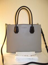 Michael Kors Large Pearl Grey White Leather Mercer Tote Shoulder Bag $298
