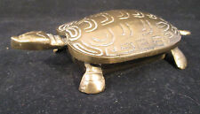 "Turtle Trinket Box, Solid Brass 6 1/4"" nose to tail Hinged lid"