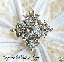 10 Square Rhinestone Crystal Button Buckle Flower Clip