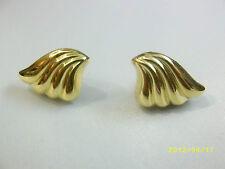 Gold Tone Art Deco Style Fan Wing Shape Earrings for Pierced Ears Vintage Retro