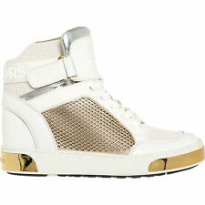 MICHAEL KORS Women's Pia High Top White and Gold Trainers rrp £195 -  7M / UK4