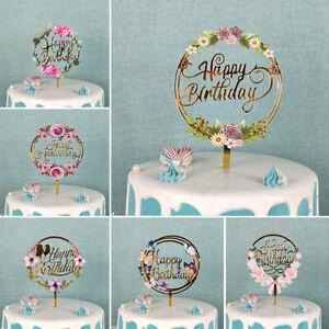 Flowers Happy Birthday Cake Topper Acrylic Cake Topper For Birthday Cake De.AU