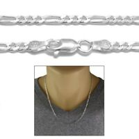 925 Sterling Silver Solid Figaro Link Chain Necklace 3mm (080 Gauge)