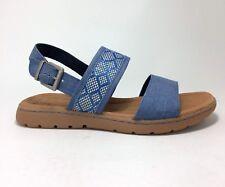 New B.O.C. Jorunn size 7 Blue Denim & Tan Woven Fabric Sandals Born Concept BOC