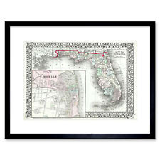 Map Illustrated Antique Mitchell Florida Framed Wall Art Print