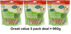 3 X GOOD BOY CHEWY TWISTS WITH CHICKEN DOG TREATS 320G 05630 GREAT VALUE TASTY
