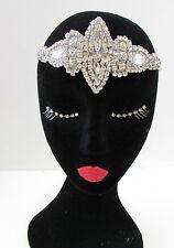 Silver Rhinestone Headdress Burlesque Vintage Headband 1920s Flapper Bridal A74