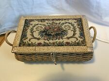 Vintage Sewing Box Basket rattan and tapestry with plastic liner Azar Chartreuse