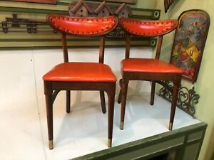 Mid Century Modern Wood Dining Chair Orange Tack Upholstered Bow Curved Lot of 2