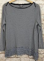 J Jill shirt top womens medium black stripe long slv boatneck sharkbite hem H5