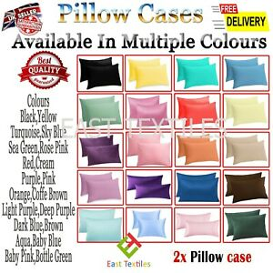 2pcs Luxury Fine Poly Cotton Pillow Case Housewife Pillow Cover Cases Pair Pack