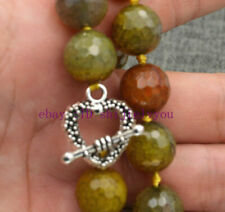 """12mm round faceted gemstone Yellow Dragon Veins Agate necklace 18 """""""