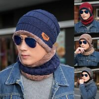 US Winter Mens Beanie Baggy Warm Wool Fleece Ski Cap Hat + Scarf Neckerchief Set