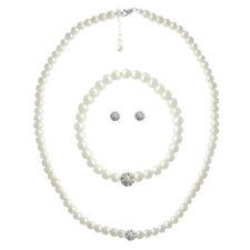 925 Silver White Pearl & Crystal Fireball Necklace, Bracelet & Earrings Set