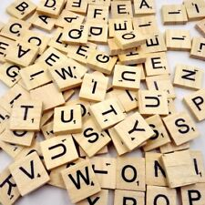 100 x Wooden Alphabet Scrabble Tiles Black Letters & Numbers For Crafts Wood Toy